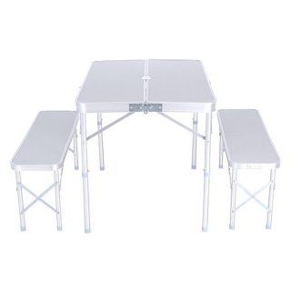 Set camping plegable mesa + 2 bancos KUSHIRO